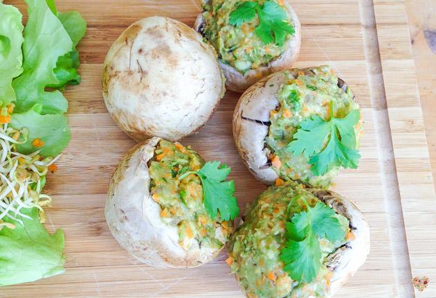 champignones rellenos receta crudivegana alma verde