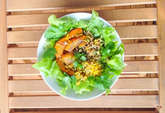 Ensalada de arroz especiado y calabaza receta blog alma verde