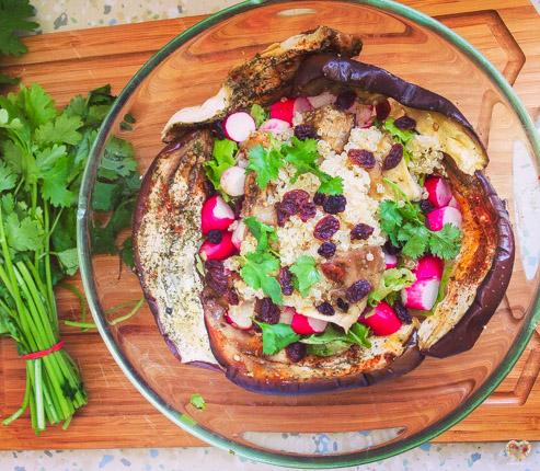 Ensalada de quinoa y berenjena asada alma verde