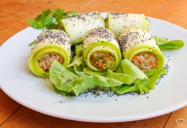 rollitos calabacin zuchini rellenos recetas alma verde