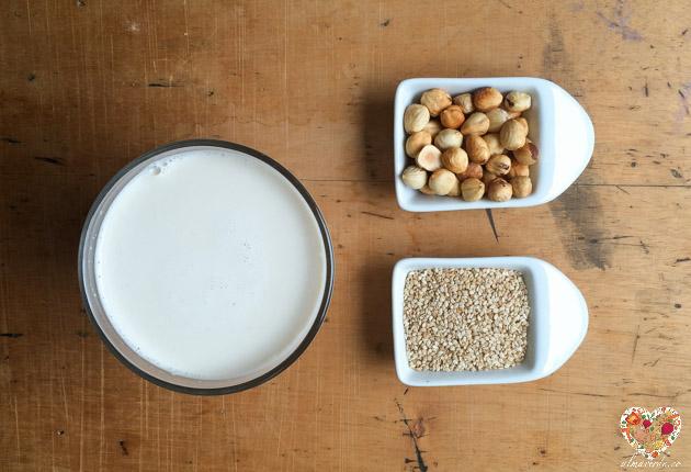 Receta de leche de nueces avellanas y sésamo
