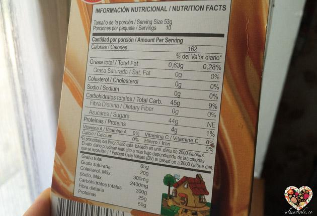 información nutricional de los alimentos