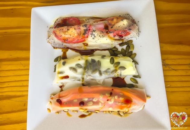 Recetas veganas sin gluten de rollos de papel de arroz