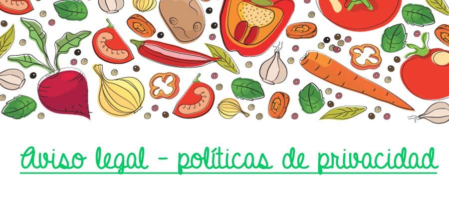 Aviso legal y políticas de privacidad del blog de recetas