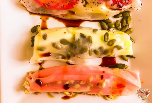 Rollos crudiveganos sin gluten con vegetales