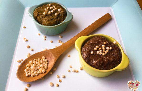 Mousse vegana sin azúcar de chocolate y té verde matcha