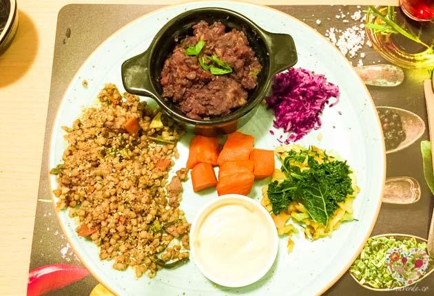El plato del día en Kibio restaurante, vegano y macrobiótico