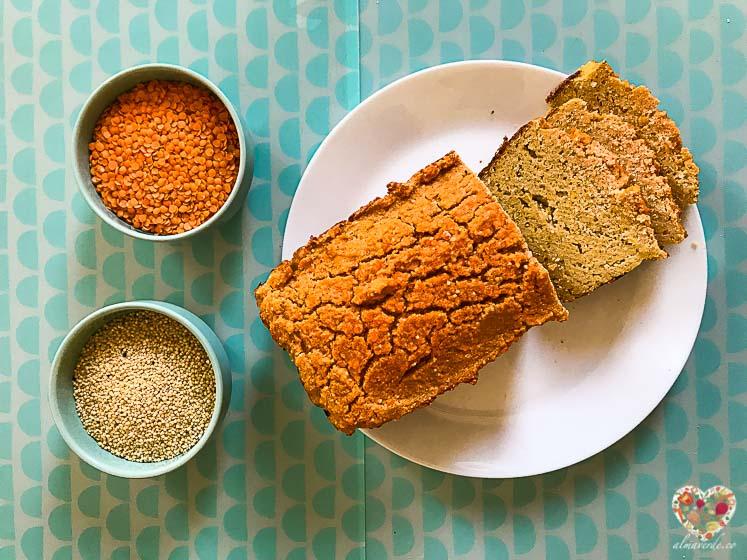 Como hacer pan vegano de lentejas y mijo sin levadura